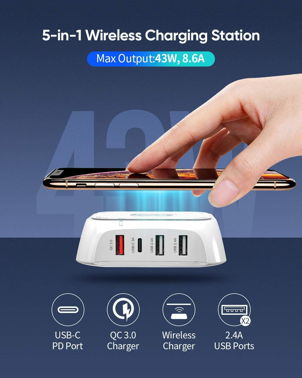 Multifunctional Desktop USB Charge Hub for 5 Devices Simultaneously up to 43W //8.6A 100-240V for Home Office SUPERDANNY USB C Charger with QC 3.0 Port and Wireless Charging Pad White