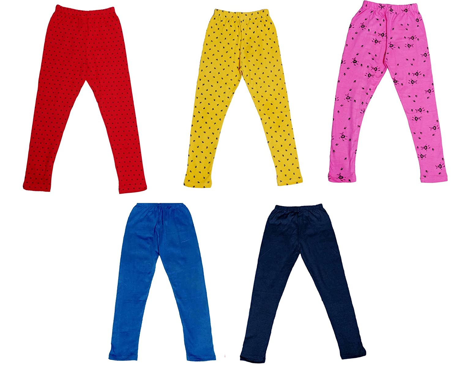Indistar Super Soft and Stylish 2 Solid and 3 Cotton Printed Leggings For Girls(Pack of 5)