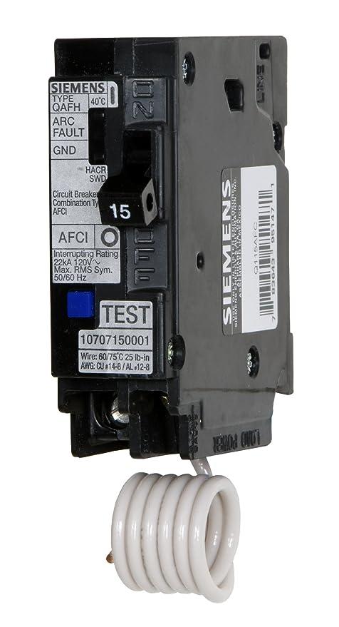 Siemens Q115AFC 15-Amp 1 Pole 120-Volt Combination Type Arc Fault ...