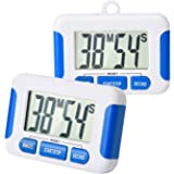 Mudder 2 Pack Magnetic Digital Cook Kitchen Timer with Loud Alarm and Big Screen, Blue
