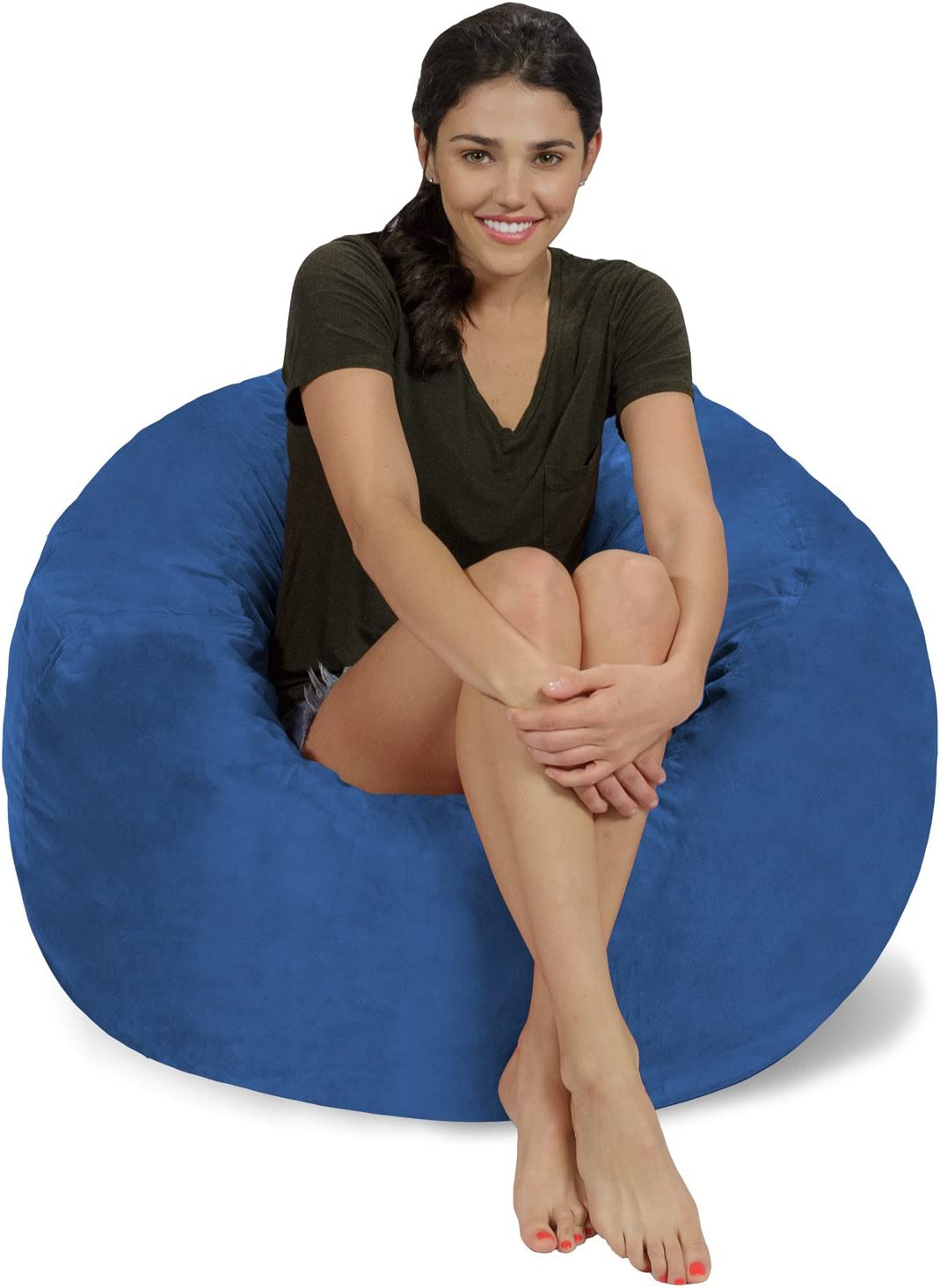 Chill Sack Bean Bag Chair: Large 3' Memory Foam Furniture Bean Bag - Big Sofa with Soft Micro Fiber Cover - Royal Blue Micro Suede