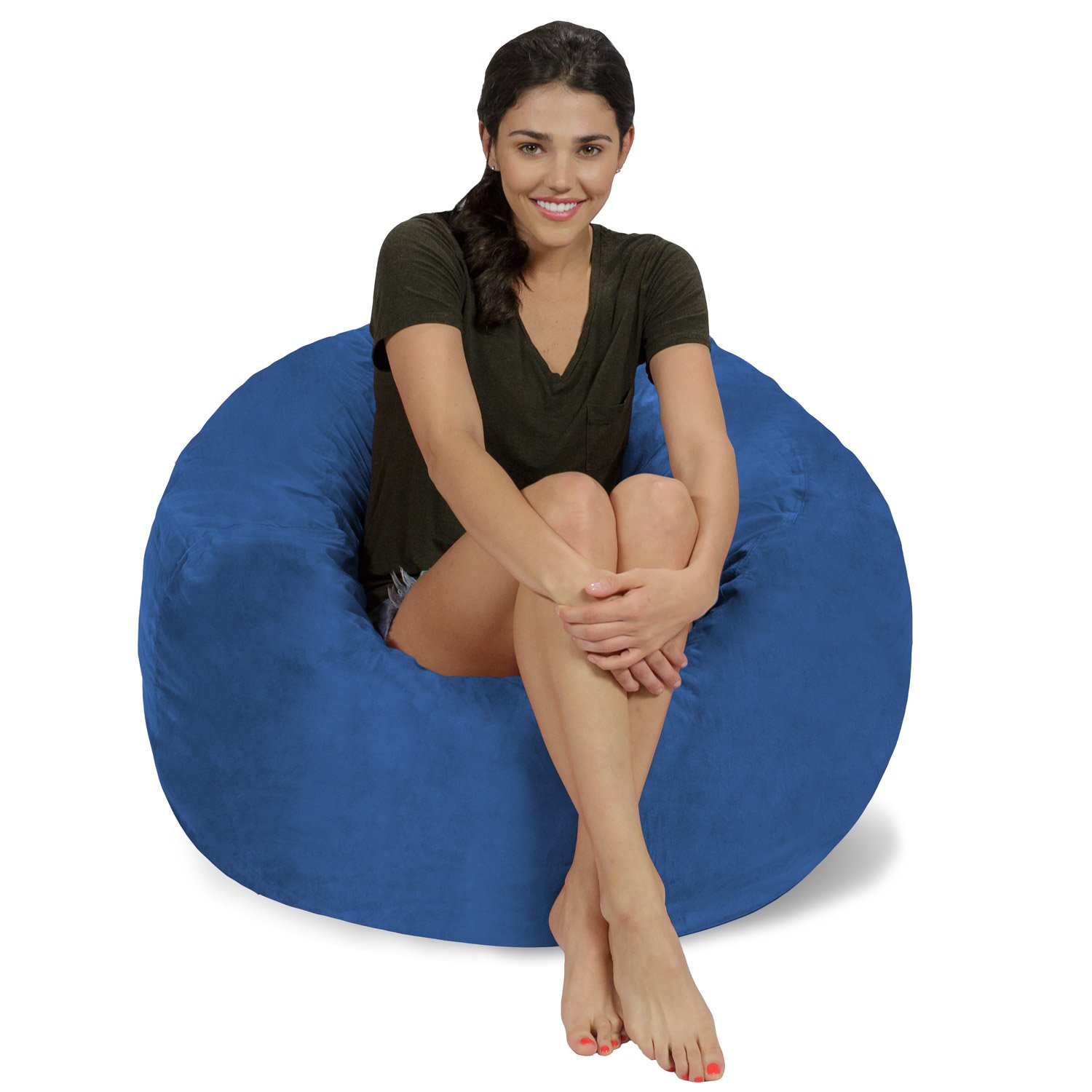 Chill Sack Bean Bag Chair: Large 3' Memory Foam Furniture Bean Bag - Big Sofa with Soft Micro Fiber Cover - Royal Blue Micro Suede by Chill Sack