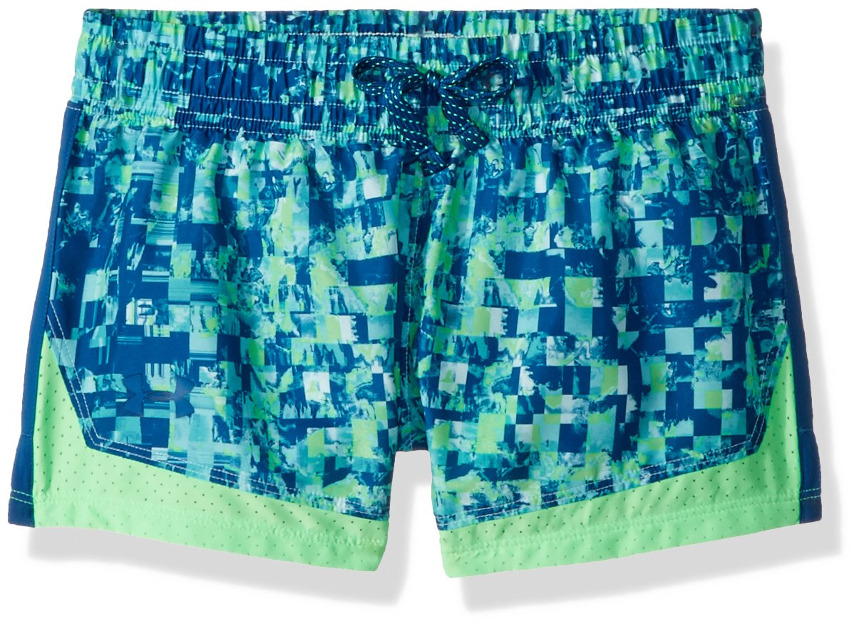 Under Armour Girls' Sprint Novelty Short, Tropical Tide /Moroccan Blue, Youth Small by Under Armour