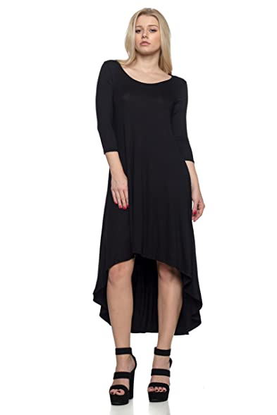 1b059ee3c328 J2 LOVE Made in USA High n low 3/4 Sleeve Jersey Dress (up to 5X) at ...