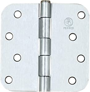 Penrod Door Hinges - Satin Nickel - 4 Inch with 5/8 Inch Radius - 2 Pack