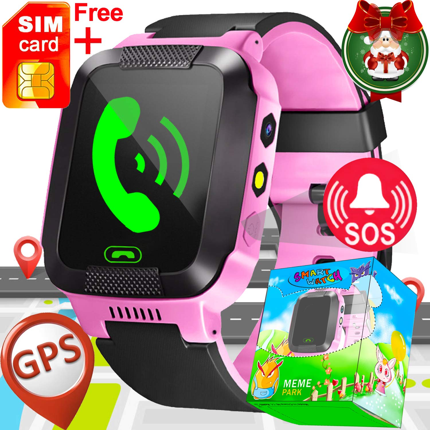 Kids Smart Watch with SIM Card Slot-Game Smart Watch Phone GPS Tracker for Boys Girls with Fitness Tracker SOS Camera Anti-Lost Wristband Bracelet Alarm Clock Christmas Birthday Gift