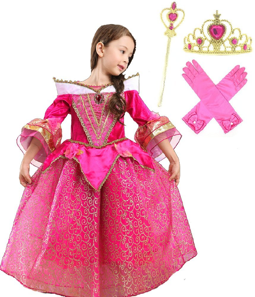 Romy's Collection Princess Aurora Deluxe Pink Party Dress Costume (4-5)