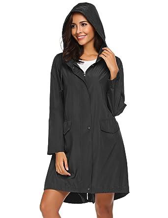 d933b62e Teewanna Women's Zipper Pocket Detail Hooded Long Waterproof Jacket (Black  ...