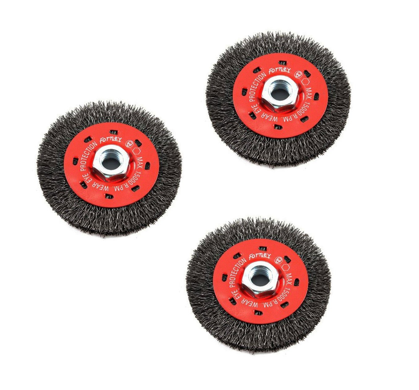 Forney 72788 Wire Wheel Brush, Coarse Crimped with 5/8-Inch-11 Threaded Arbor, 4-Inch-by-.014-Inch, Sold as 3 Pack by Forney