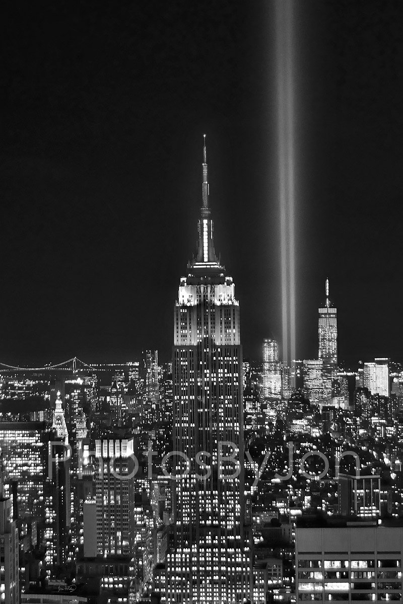 New York City NYC Skyline Tribute in Lights at NIGHT Empire State Building Manhattan Black & White BW 12 inches x 18 inches Photographic Panorama Poster Print Photo Picture Standard Frame Size by photosbyjon