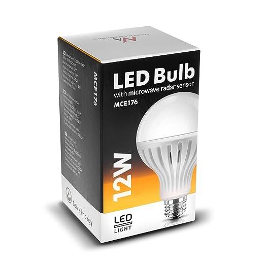 Maclean mce176 LED Lámpara con microondas Movimiento E27 (12 W, Color Blanco frío): Amazon.es: Electrónica