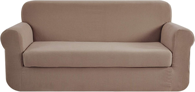 E EBETA Tunez Funda sofá Duplex, Funda de sofá, Tejido Jacquard de poliéster y Elastano, Funda de Clic-clac elástica Cubiertas de sofá de 2 Plaza (Color Arena, 145-185 cm)