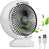 mafiti Ventilador Pequeño de Mesa,Ventilador de Escritorio Portátil Personal Oscilante, con USB Recargable, Ideal para Oficin