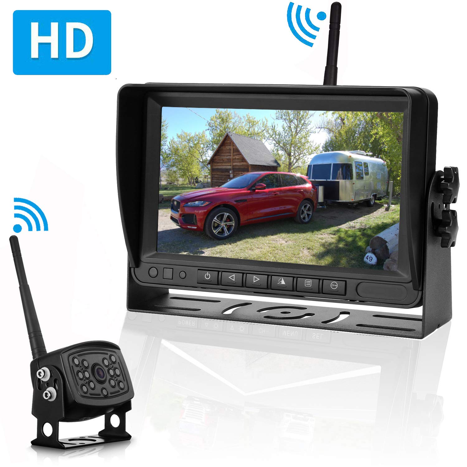 Amtifo Digital Wireless Backup Camera and 7'' Monitor For RVs,Trucks,Trailers,High-Speed Observation System With Stable Signal ,Adjustable Rear/Front View Camera, Guide Lines ON/Off, IP69K Waterproof by Amtifo