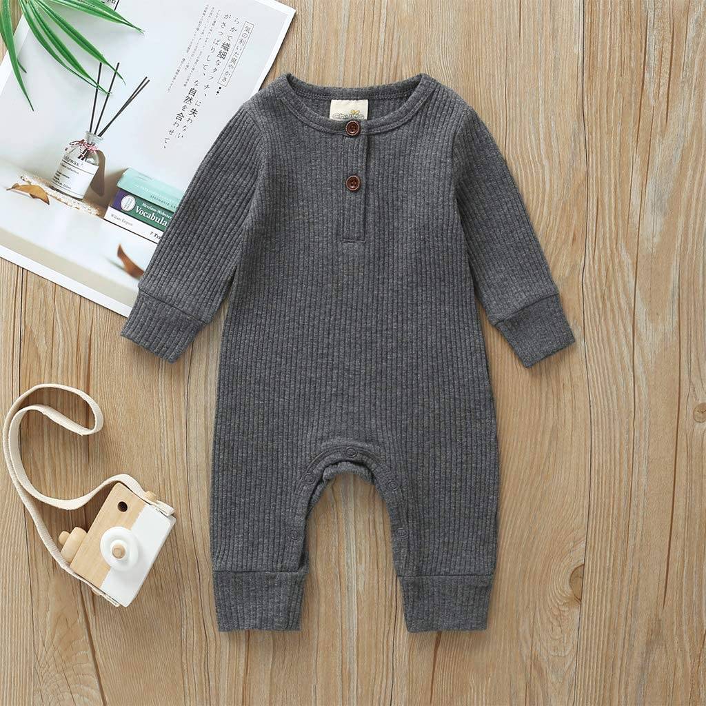 MSDMSASD Newborn Baby Boy Girl Hooded Cotton Romper Solid Color Long Sleeve Buttons Jumpsuit Clothes Outfits