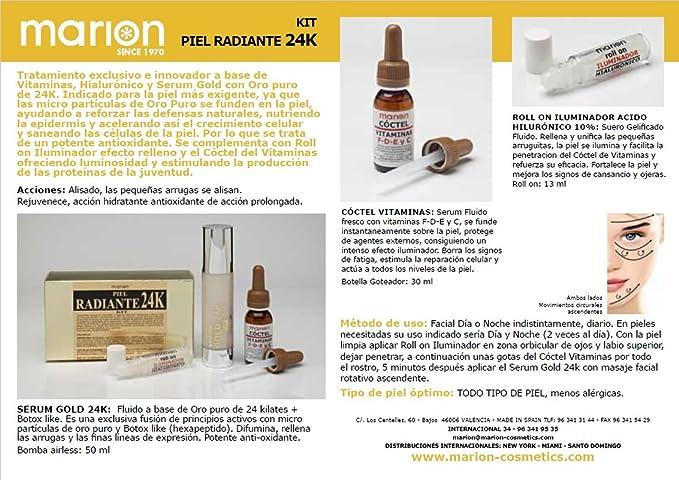 Serum Gold 24k + Vitaminas C - F - D - E + Roll On Iluminador Hialuronico (50 ml + 30 ml + 12 ml)  .