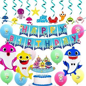 Shine Party Artículos de Fiesta para Las Decoraciones de cumpleaños de Tiburones, Colgantes de remolinos, pancartas de Feliz cumpleaños, Globos de ...