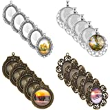 Accmor 4 Styles 20 Pcs Pendant Trays Round and Oval Bezel Trays Assorted with 20 Pieces Glass Dome Tiles Cabochon for Crafting DIY Jewelry Making, Totally 40 Pieces