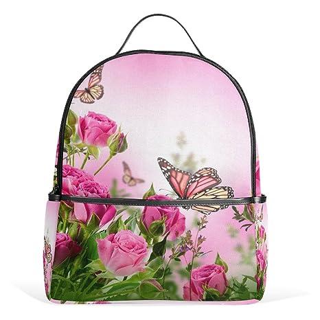 COOSUN Flor Hermosa Mariposas Rosas de Las Flores Mochilas Escolares Mochilas para Las Muchachas de los