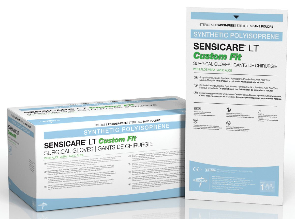 Medline MSG1185 SensiCare LT with Aloe Sterile Powder and Latex-Free Surgical Glove, Size 8.5, White (Pack of 100)