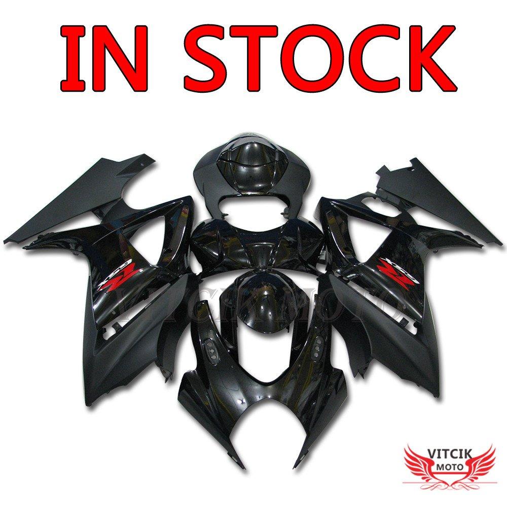 VITCIK (フェアリングキット 対応車種 スズキ Suzuki GSXR1000 K7 2007 2008 GSXR 1000 GSX R1000 K7 07 08) プラスチックABS射出成型 完全なオートバイ車体 アフターマーケット車体フレーム 外装パーツセット(ブラック) A009   B071RDY3BN