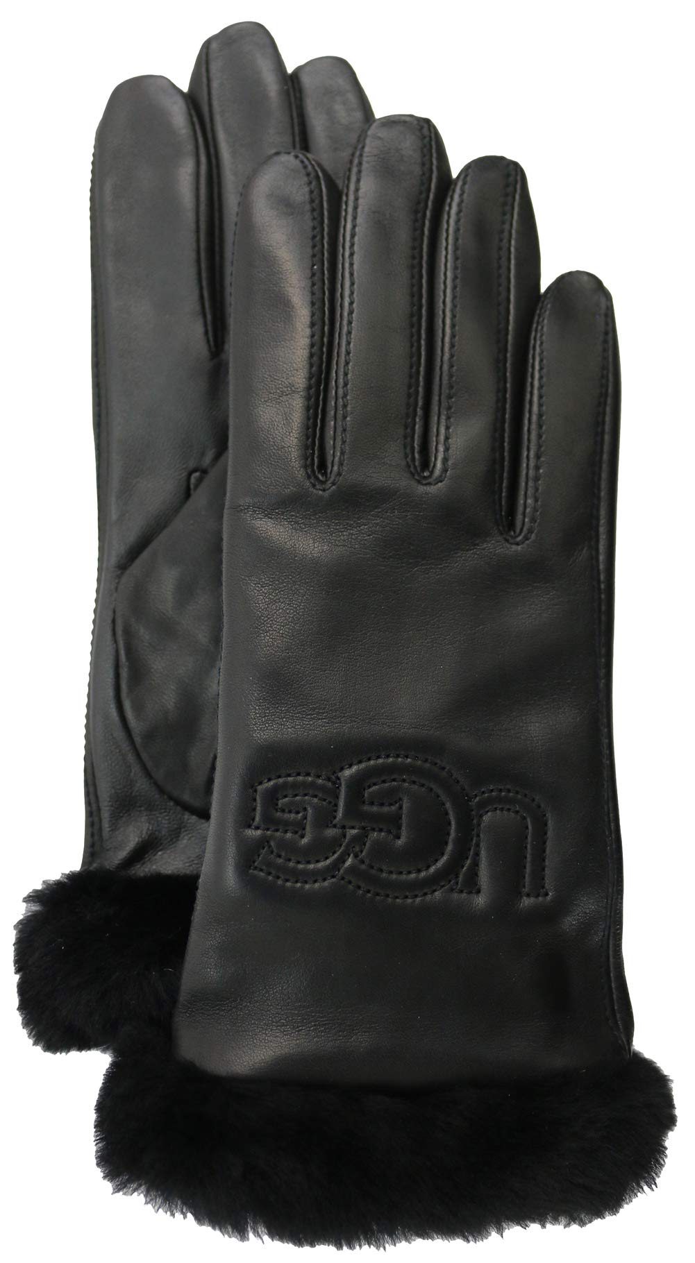UGG Women's Classic Leather Logo Tech Gloves Black 1 MD by UGG