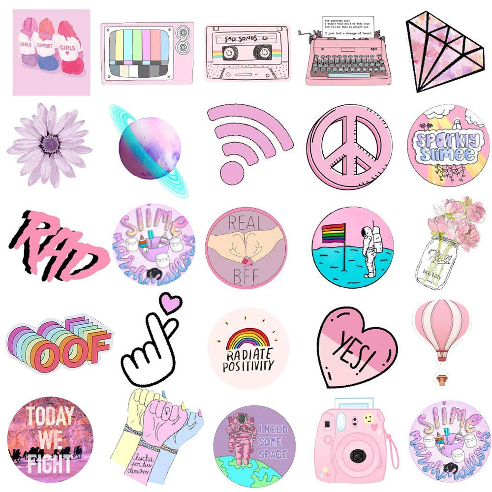 Sunvito Stickers for Water Bottles, 53 Pack Laptop Stickers for Guitar, Skateboard, Phone, Luggage, Cute Waterproof Stickers for Teens, Girls, Kids (Pink)