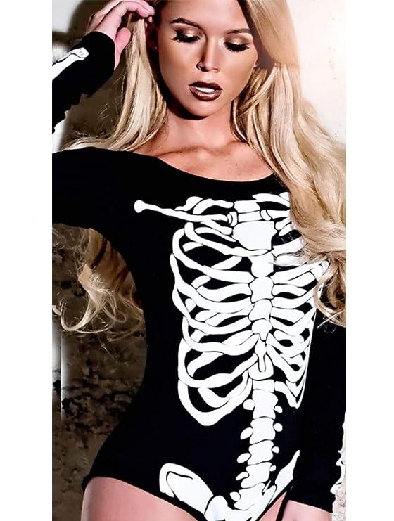 Rimi Hanger Womens Round Neck Skeleton Printed Bodysuit Ladies Halloween  Party Leotard Top S 3XL at Amazon Women s Clothing store  53b168327