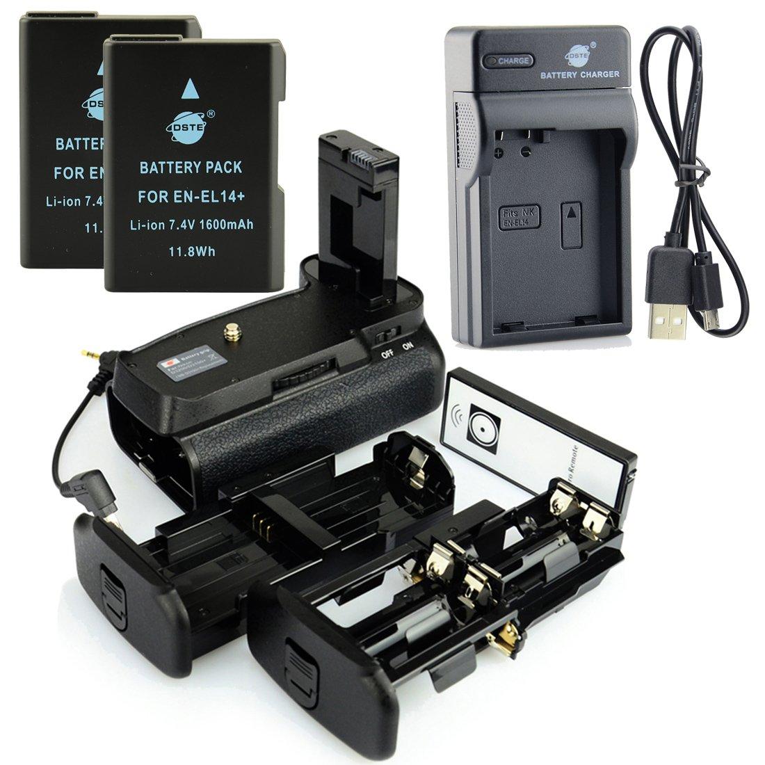 2x EN-EL14 Batteria DSTE IR Remote MB-D31 Vertical Impugnatura Batteria USB Caricabatteria per Nikon D3100 D3200 D3300 D5300