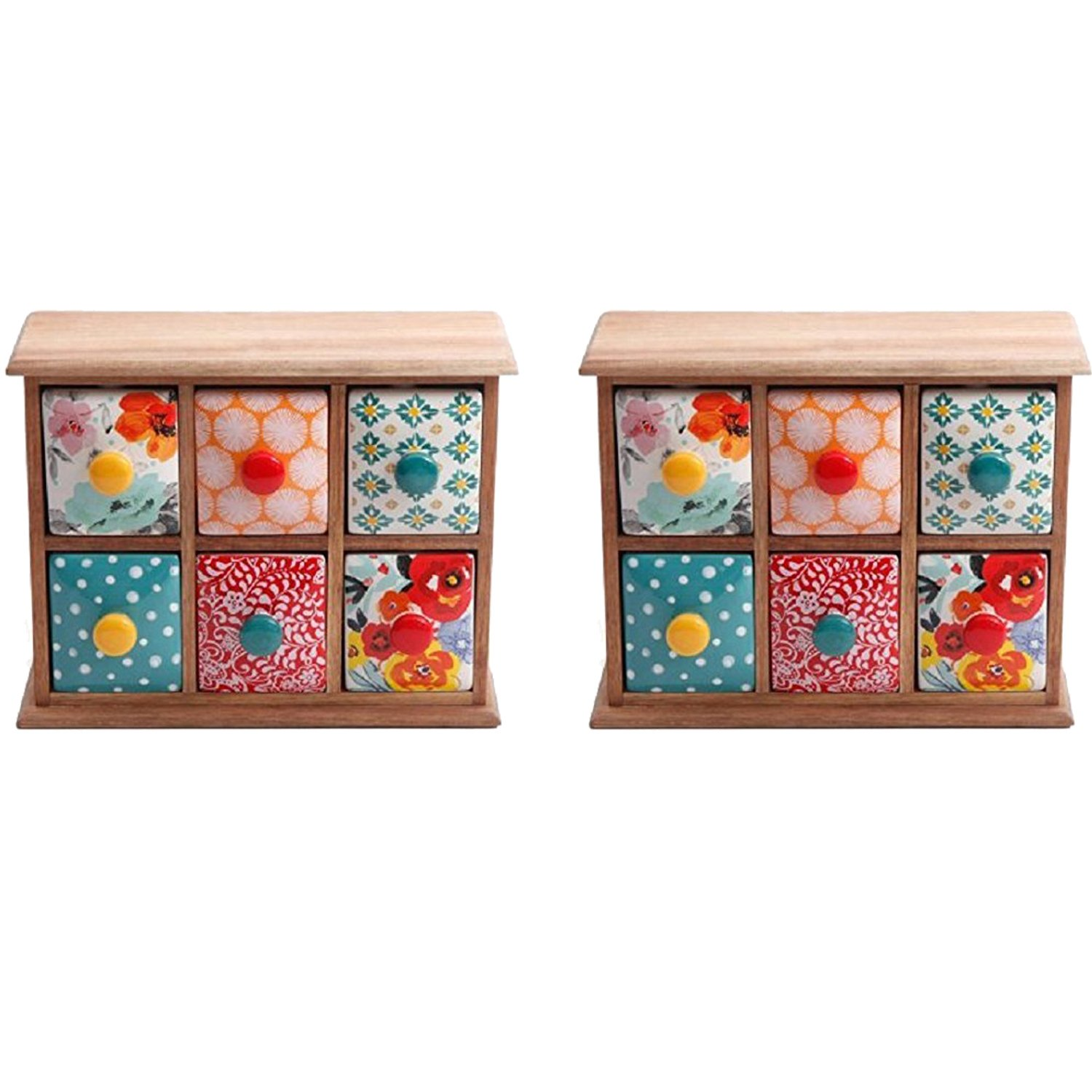 The Pioneer Woman Flea Market 6-Drawer Spice/Tea Box, 2-Pack by The Pioneer Woman