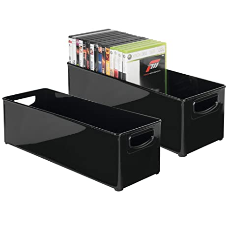 mDesign Juego de 2 Caja de almacenaje apilable para guardar DVDs – Sistema de almacenaje con