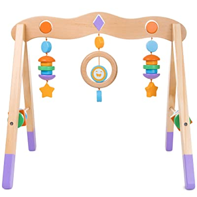 Little Olympians Wooden Baby Gym - Child Activity Center Newborns & Early Infants - Wood Mobile Interactive Play Station for Tummy Time - Educational & Developmental Learning Toys, Ages 0-5 Months: Toys & Games