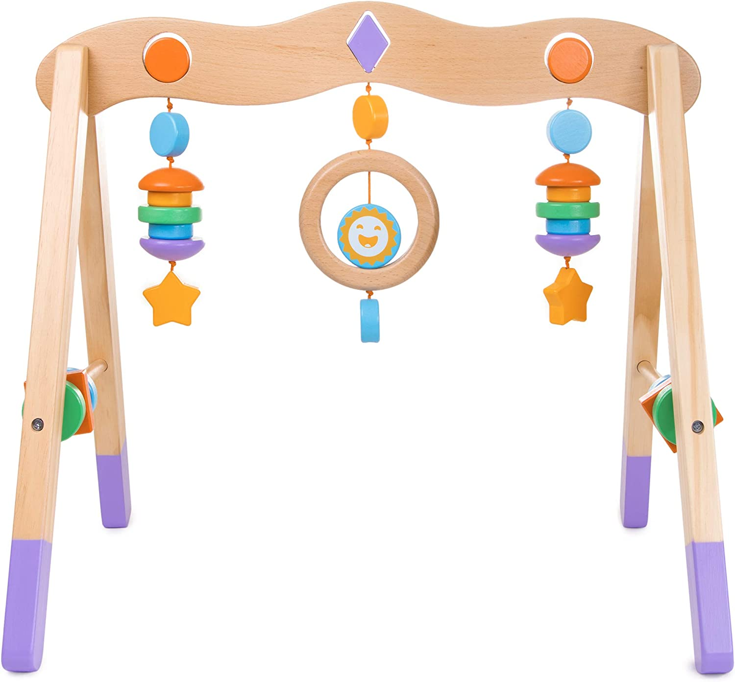 Little Olympians Wooden Baby Gym - Child Activity Center Newborns & Early Infants - Wood Mobile Interactive Play Station for Tummy Time - Educational & Developmental Learning Toys, Ages 0-5 Months