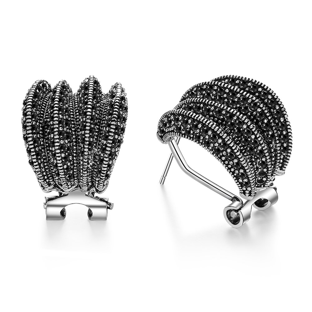 Mytys Retro Earrings Silver Black Marcasite Stone Elegant Stud Earring for Women Girl