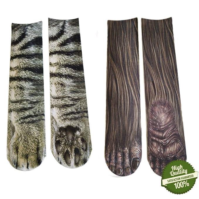 Morbuy Unisexo Adulto Calcetines, 3D Impresión Hombres y Mujer Animal Calcetines en Forma de Garra Novedad Elástico Deportes Socks (B): Amazon.es: Ropa y ...