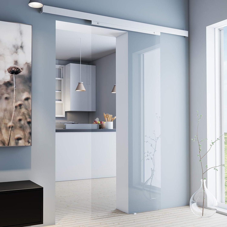 Puerta Corredera Cristal corredero habitaciones Puerta 880 x 2035 mm puerta Interior Juego completo de almacenamiento con riel y puerta de cristal (transparente): Amazon.es: Hogar