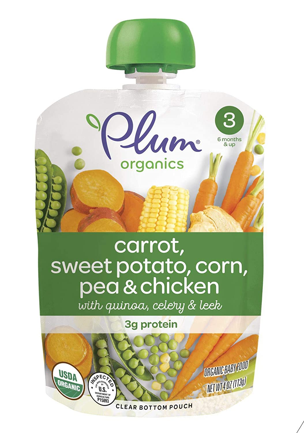 Plum Organics Stage 3, Organic Baby Food, Carrot, Sweet Potato, Corn, Pea and Chicken, 4 Ounce Pouches (Pack of 12)
