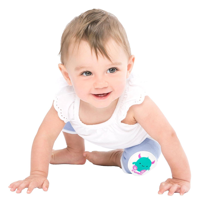 Rodilleras para beb/é Kneekers dise/ño de monstruo feliz azul Talla:Large