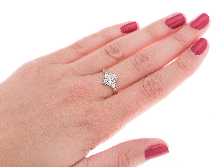 Kareco 9ct Yellow Gold 15Pts Diamond Cluster Ring: Amazon.co.uk ...