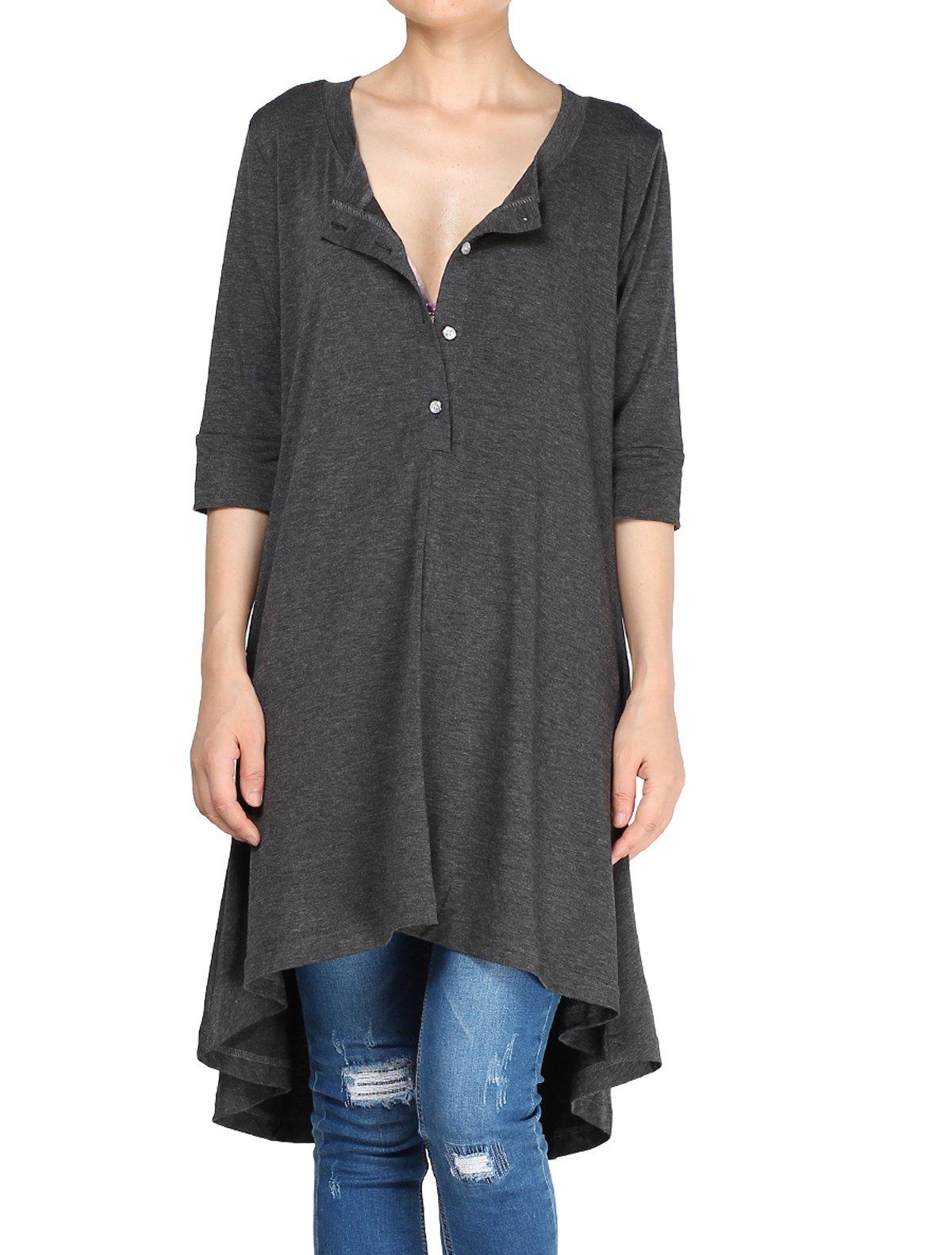 Mordenmiss Women's New Half Sleeve High Low Loose Tunic Tops Dark Gray-XXL