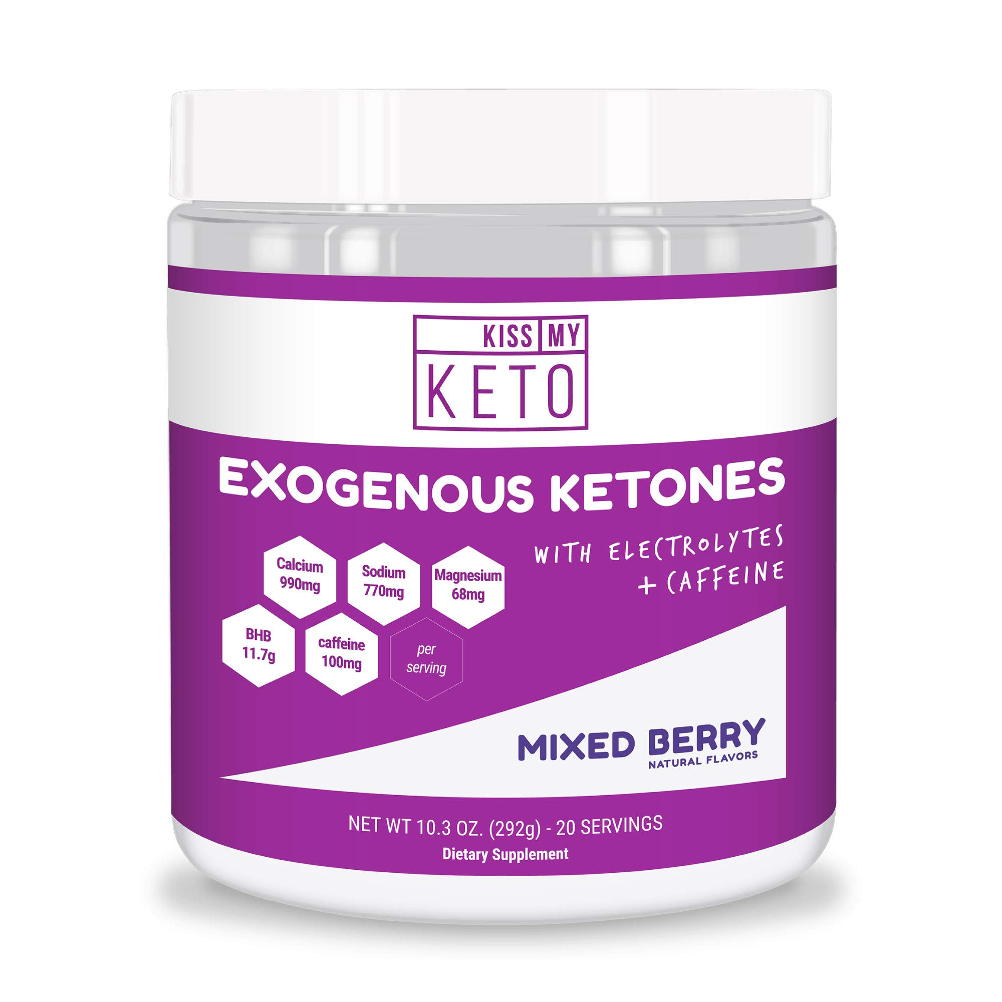 Kiss My Keto Pre Workout - Exogenous Ketones Caffeine and Electrolytes Powder Drink, 20 Servings Mixed Berry, GoBHB, Boost Energy and Metabolism, Get Into Ketosis by Kiss My Keto