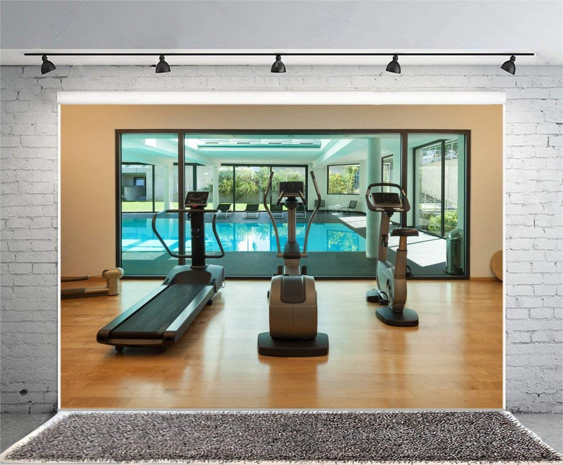 Gym Photography Background 10x6.5ft Modern House Inside Leisure Lifestyle Health Wide Nobody Empty Resort Window Clean Style Space Fitness Machine Physical Training