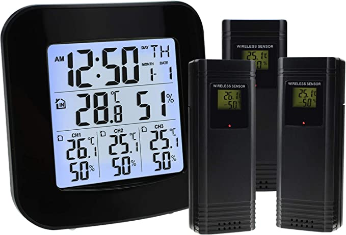 Wireless Thermometer Hygrometer Monitor Clock  Backlight Weather Station W6R6