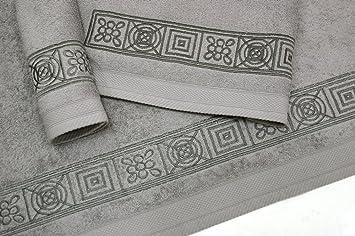 Juego de Toallas Bordadas 3 piezas 550gr GRECA 3P. Nº17 (Gris): Amazon.es: Hogar