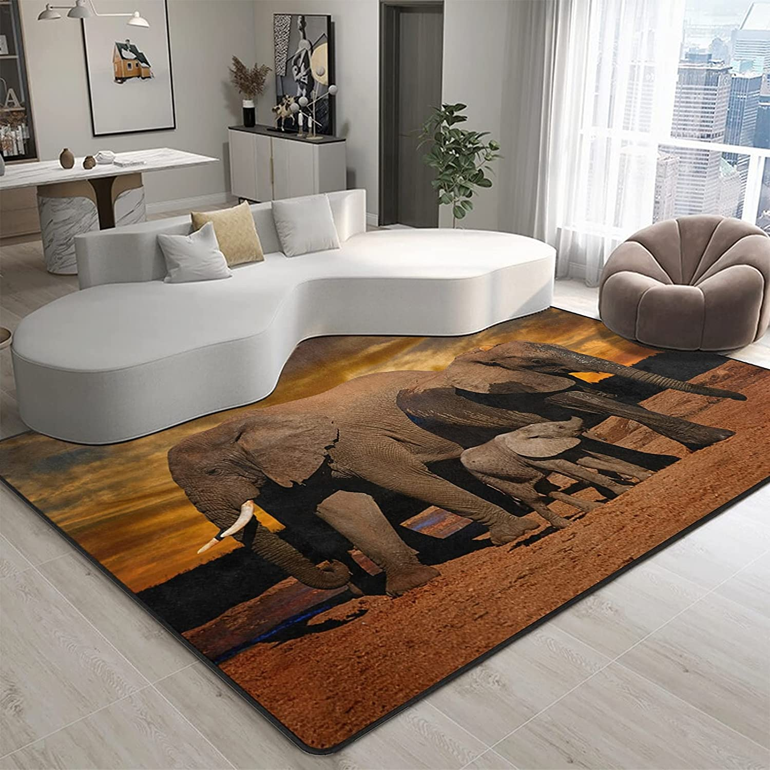 9CH African Elephant Sunset Area Rug 7'X5', Non-Slip African Rugs for Living Room Bedroom Dinning Kitchen Office Decor