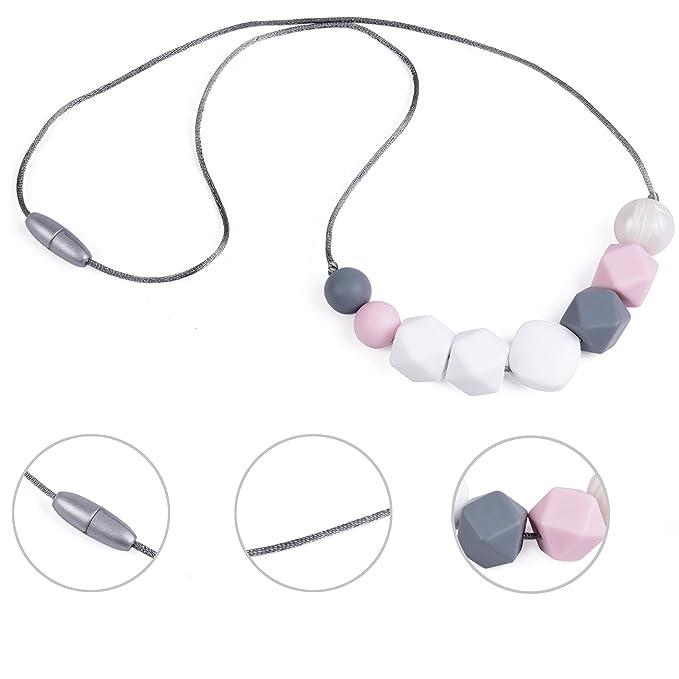 Collar De Dentición y Clip De Chupete, Juego De 2 Diseños De Rosa / Perla Para Mamás y Niñas, Chupete De Silicona, Juguete Para Dientes y Chupete ...