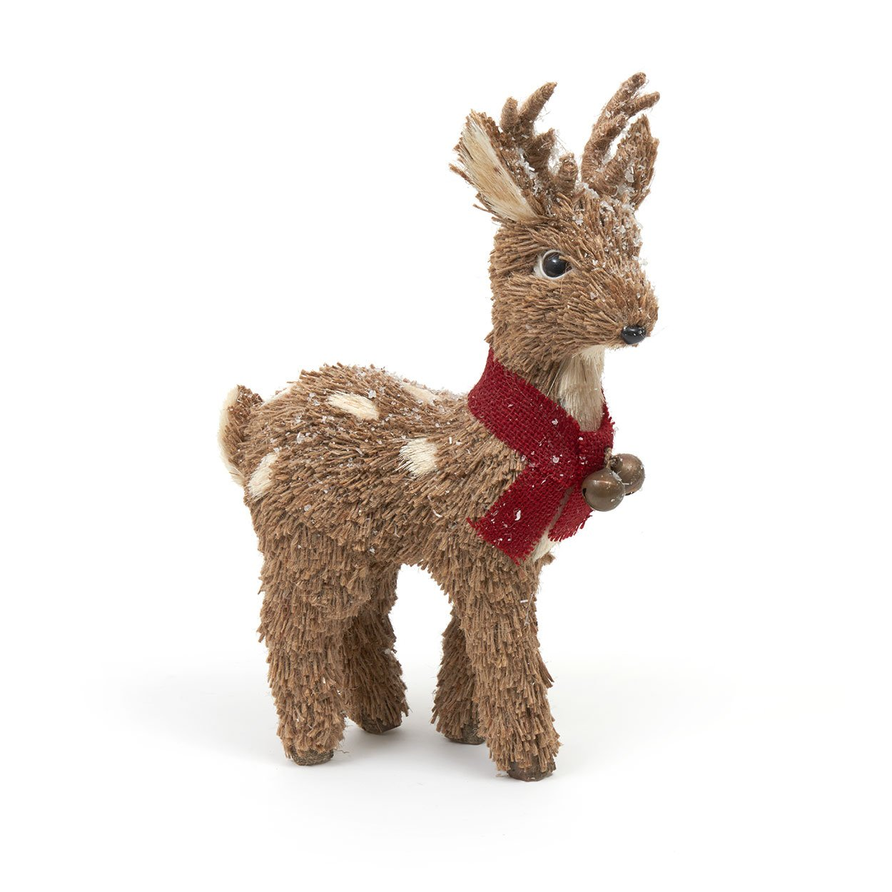 Bristle Reindeer Christmas Figure with Woolly Scarf and Bells (32cm) Heaven Sends