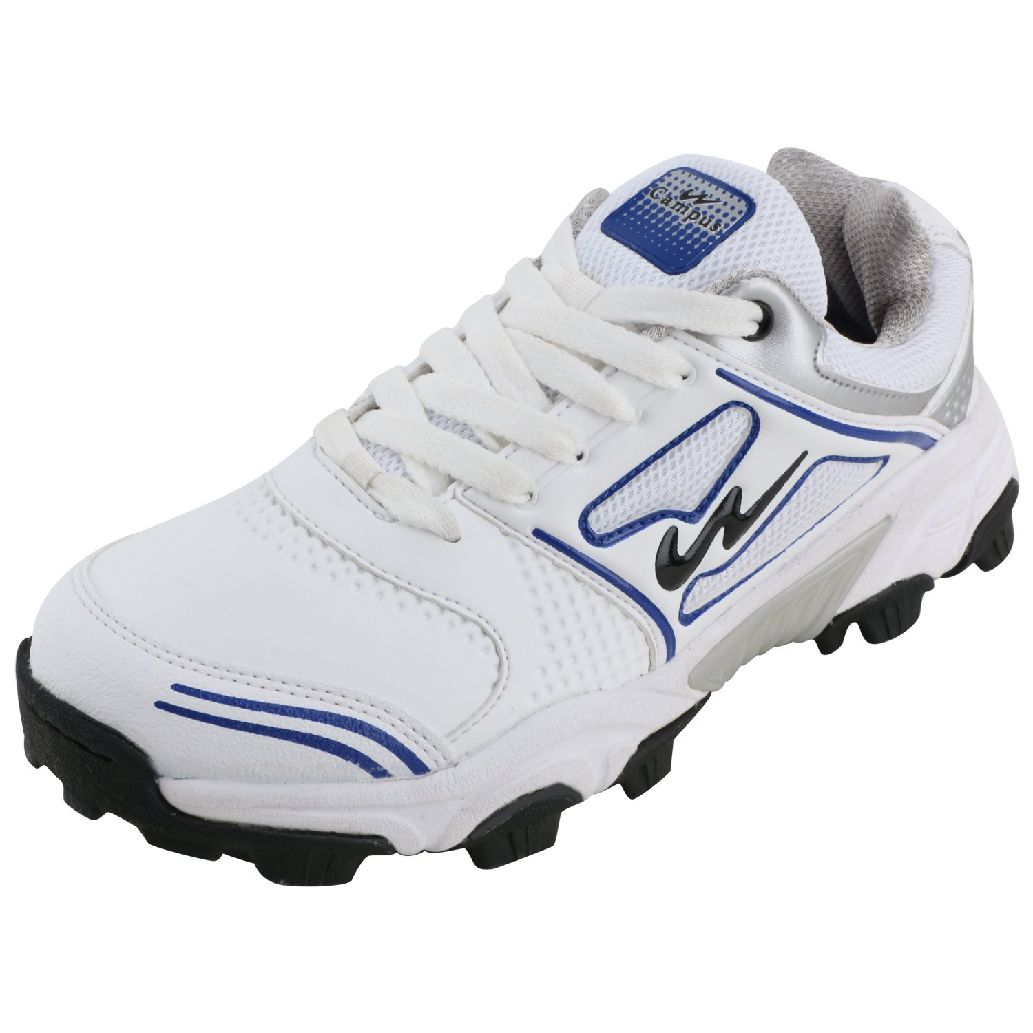 Silver Synthetic Cricket Shoes