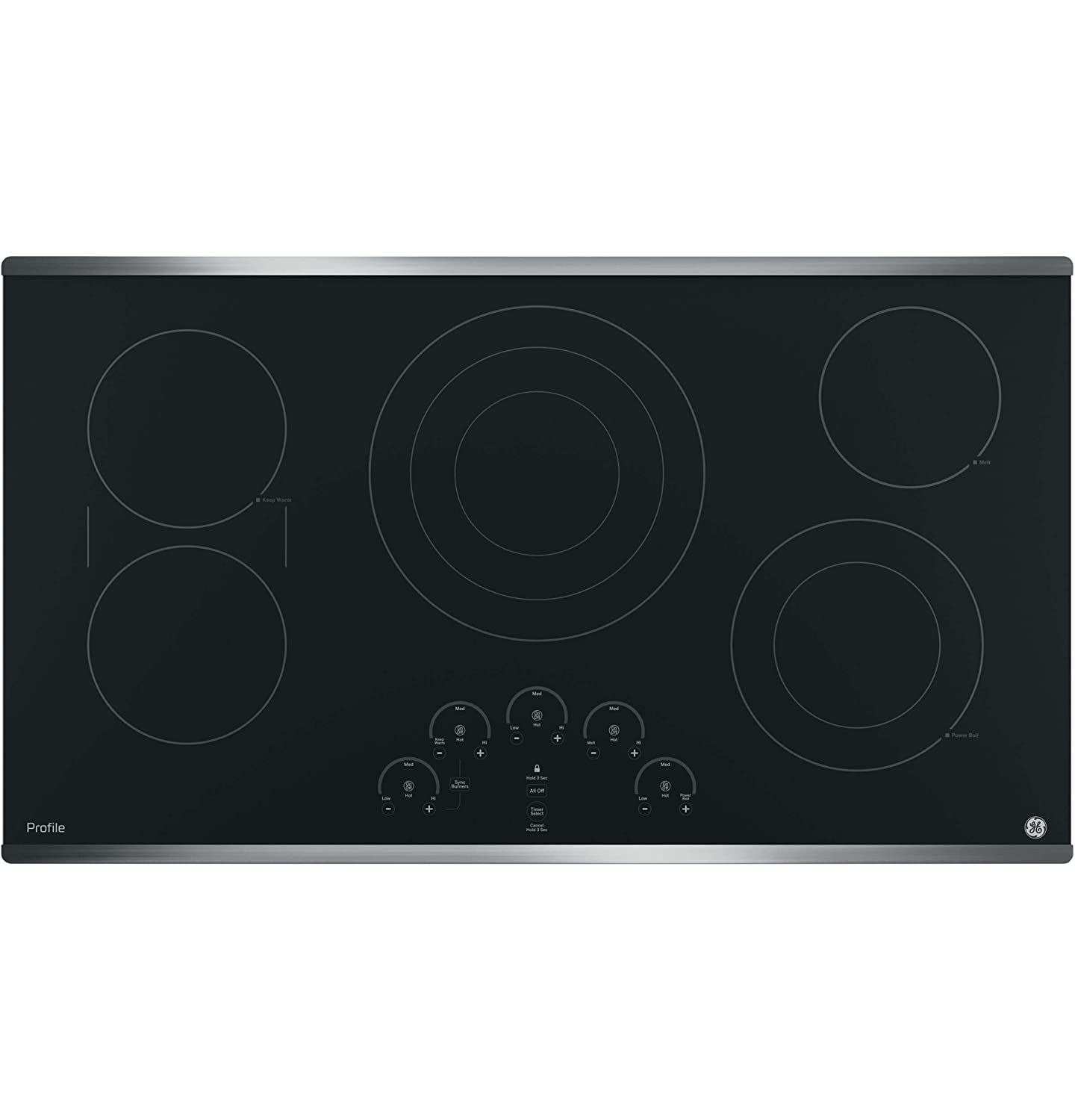 "GE PP9036SJSS 36 Inch Electric Cooktop with 5 Radiant, Bridge SyncBurners, 6""/9""/12 Inch Tri-Ring, 5""/8 Inch Power Boil Element, Red LED Touch Controls, ADA Compliant Fits Guarantee"