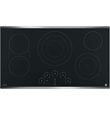 GE PP9036SJSS 36 Inch Electric Cooktop with 5 Radiant, Bridge SyncBurners, 6 9 12 Inch Tri-Ring, 5 8 Inch Power Boil Element, Red LED Touch Controls, ADA Compliant Fits Guarantee